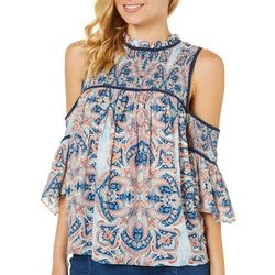 My Michelle Juniors Floral Damask Cold Shoulder Top