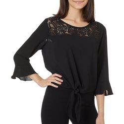 Leighton Juniors Solid Lace Yoke Tie Front Bell Sleeve Top