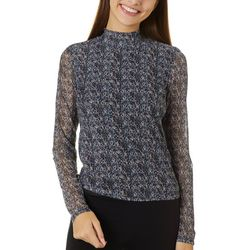 Leighton Juniors Graphic Print Mesh Long Sleeve Top