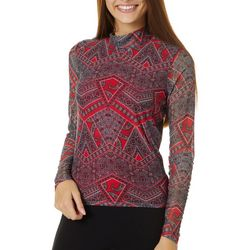 Leighton Juniors Mixed Paisley Print Mesh Long Sleeve Top