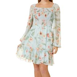 Leighton Juniors Floral Print Smocked Bodice Dress
