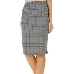 No Comment Juniors Plaid Pull On Pencil Skirt