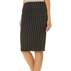 No Comment Juniors Pin Stripe Pull On Pencil Skirt