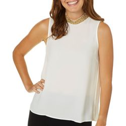 Jolie & Joy Juniors Solid Glitz High Neckline Sleeveless Top