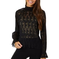 Jolie & Joy Juniors High Neckline Lace Long Sleeve Top