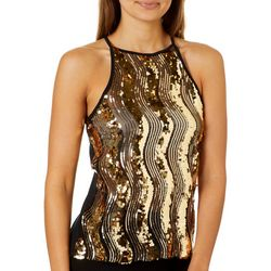 Full Circle Trends Juniors Sequin Wave Mesh Top