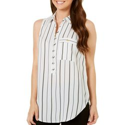 Myth Juniors Striped High-Low Zipper Tank Top