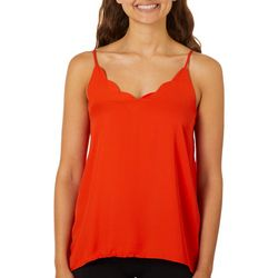 Shinestar Juniors Solid Scalloped V-Neck Sleeveless Top