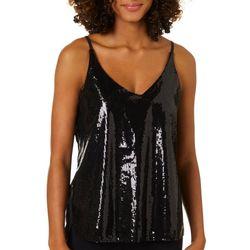 Shinestar Juniors Sequin Embellished V-Neck Sleeveless Top