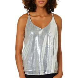 Shinestar Juniors Sequin Embellished V-Neck Sleeveless Top