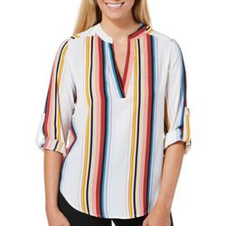 Bailey Blue Juniors Woven Striped Roll Tab Top