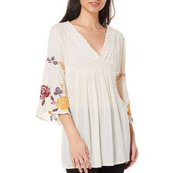 Blu Pepper Juniors Embroidered Floral Crochet Tunic Top
