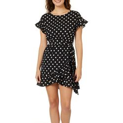 Blu Pepper Juniors Belted Polka Dot Fit & Flare Dress