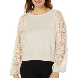 Blu Pepper Juniors Knit Floral Lace Top