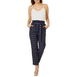 Blu Pepper Juniors Belted Solid Checkered Jumpsuit