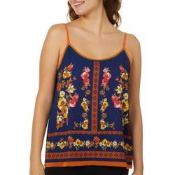 Blu Pepper Juniors Geo Striped Floral Tank Top