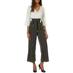 Blu Pepper Juniors Striped Faux-Wrap Jumpsuit