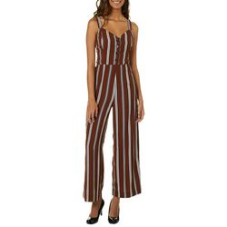 Blu Pepper Juniors Striped Button Down Wide Leg Jumpsuit