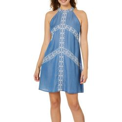Blu Pepper Juniors Embroidered Chambray Halter Dress