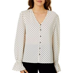 No Frills Juniors Polka Dot Ruffle Cuff Long Sleeve Top