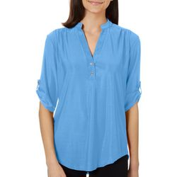Roommates Juniors Solid Button Placket Roll Tab Sleeve Top