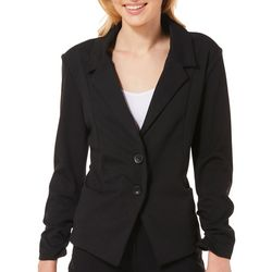 Stoosh Juniors Solid Double Button Blazer