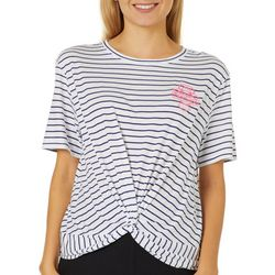 Chubby Mermaids Juniors Cropped Striped Twist Front T-Shirt