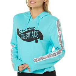 Chubby Mermaids Juniors Cropped Logo Hooded Sweatshirt