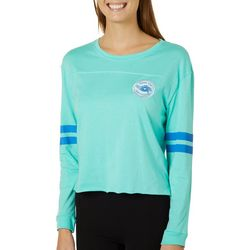 Chubby Mermaids Juniors Cropped Athletic Striped Top