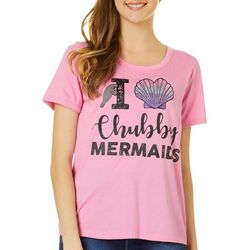 Chubby Mermaids Juniors I Heart Chubby Mermaids T-Shirt
