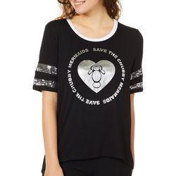 Chubby Mermaids Juniors Save Chubby Mermaids Sequin T-Shirt