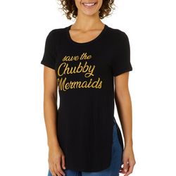 Chubby Mermaids Juniors Embroidered Split Hem Top