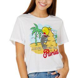 Chubby Mermaids Juniors Manatee Seasons Greetings T-Shirt
