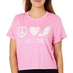 Chubby Mermaids Juniors Peace, Love, Manatees T-Shirt