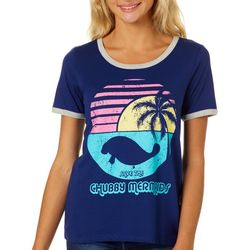 Chubby Mermaids Juniors Chubby Mermaids Sunset Ringer Top