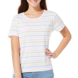 Chubby Mermaids Juniors Striped Embroidered Manatee T-Shirt