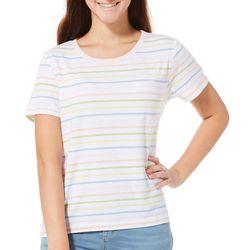 Chubby Mermaids Juniors Striped Embroidered Manatee T-Shirt