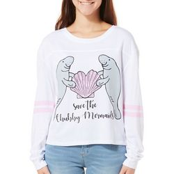 Chubby Mermaids Juniors Cropped Shell Heart Manatee Top
