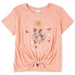 Belle Du Jour Juniors Celest Flower Short Sleeve Top
