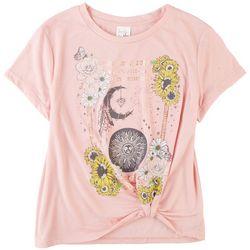 Belle Du Jour Juniors Sunflower Moon Short Sleeve Top