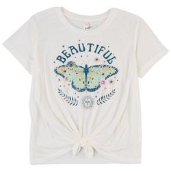 Belle Du Jour Juniors Beautiful Butterfly Short Sleeve Top