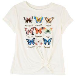 Belle Du Jour Juniors Knit Butterfly Short Sleeve Top