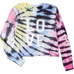 Juniors Tie Dye Love Cropped Long Sleeve Top