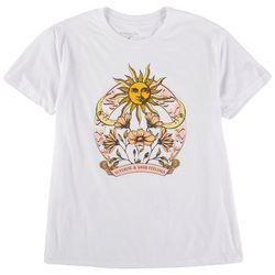 Rebellious One Juniors Sun and Flower Print Short Sleeve Top