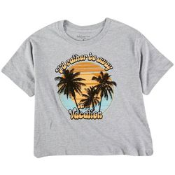 Rebellious One Juniors Cropped Tropical Quote Shirt