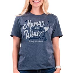 Simply Southern Womens Mama Needs Wine Solid T-Shirt