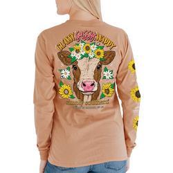 Juniors Sun Flower Cow Long Sleeve Top