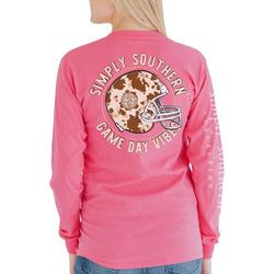 Simply Southern Juniors Game Day Cow Print Long Sleeve Top