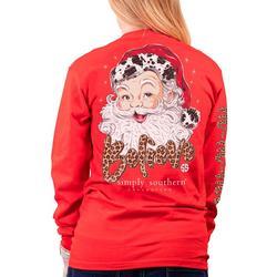 Juniors Santa Long Sleeve Top