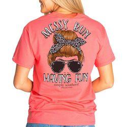 Simply Southern Juniors Messy Bun Having Fun T-Shirt